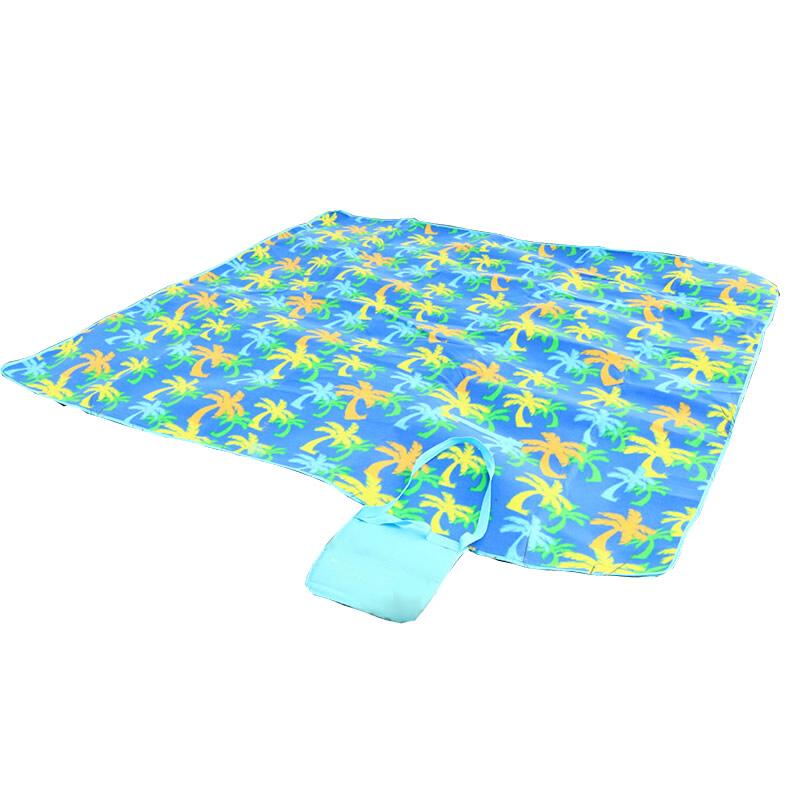 乐飞思 绒面加厚铝箔底野餐垫 防潮垫 宝宝爬行垫 帐篷防水地垫 沙滩垫 椰树花纹
