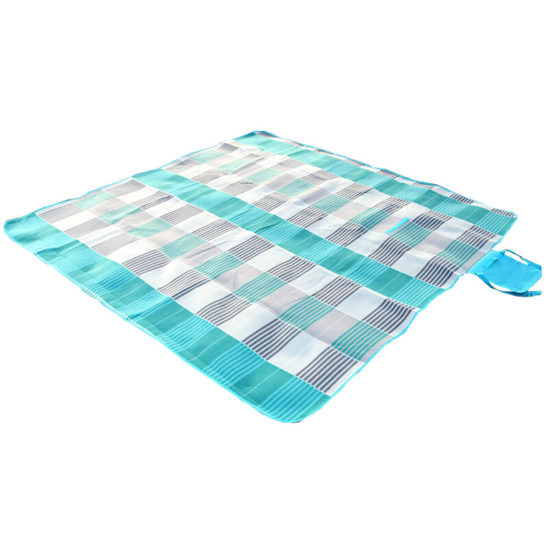 乐飞思 绒面加厚铝箔底野餐垫 防潮垫 宝宝爬行垫 帐篷防水地垫 沙滩垫 条纹灰