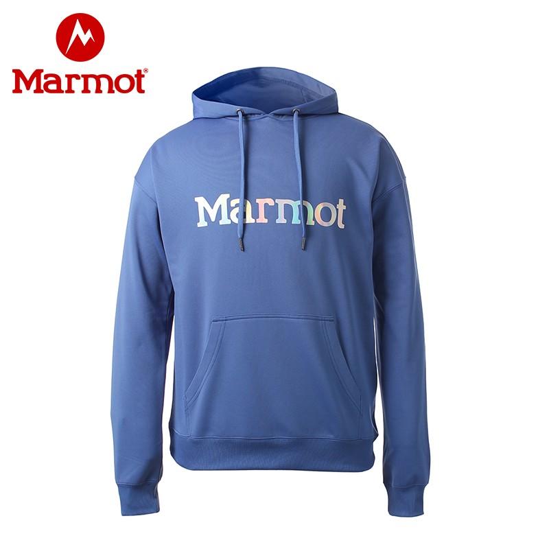 marmot/土拨鼠春季新款户外透气帽男保暖舒适长袖休闲连帽卫衣 石南校徽蓝