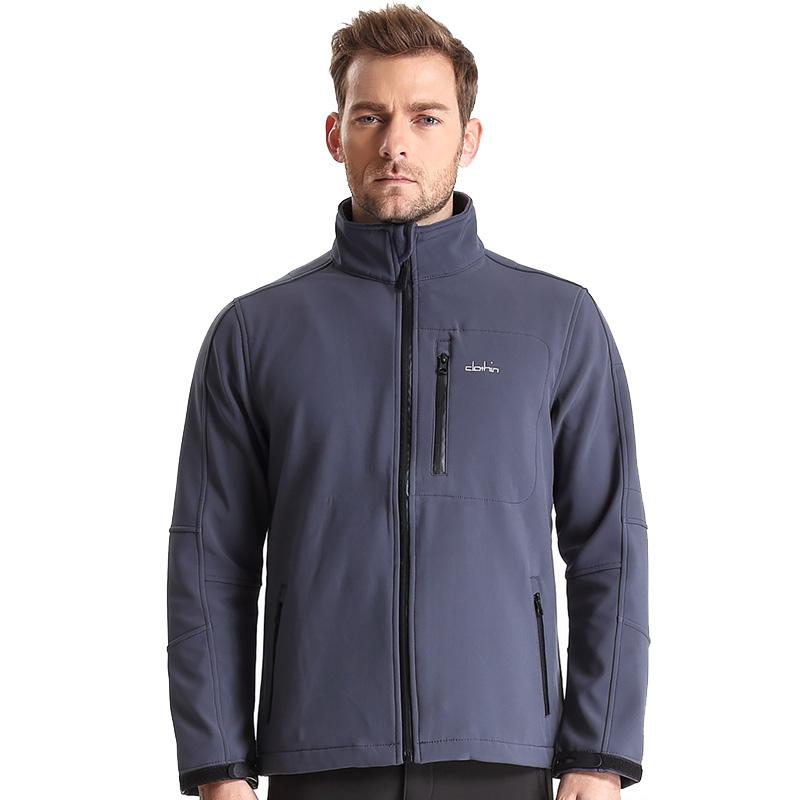 Clothin(卡鲁森)软壳冲锋衣 男款优雅灰 抓绒衣防水外套大码登山服防风C83209(61661)
