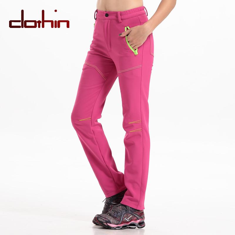 Clothin(卡鲁森)软壳冲锋裤 女款玫红色 户外防水登山裤长裤冬季CP1206(61769)