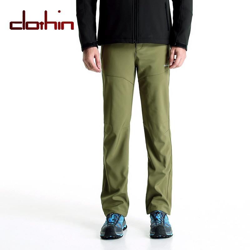Clothin(卡鲁森)软壳冲锋裤 男士抓绒裤 军绿色 户外防水登山裤长裤冬季CP1206(61769)