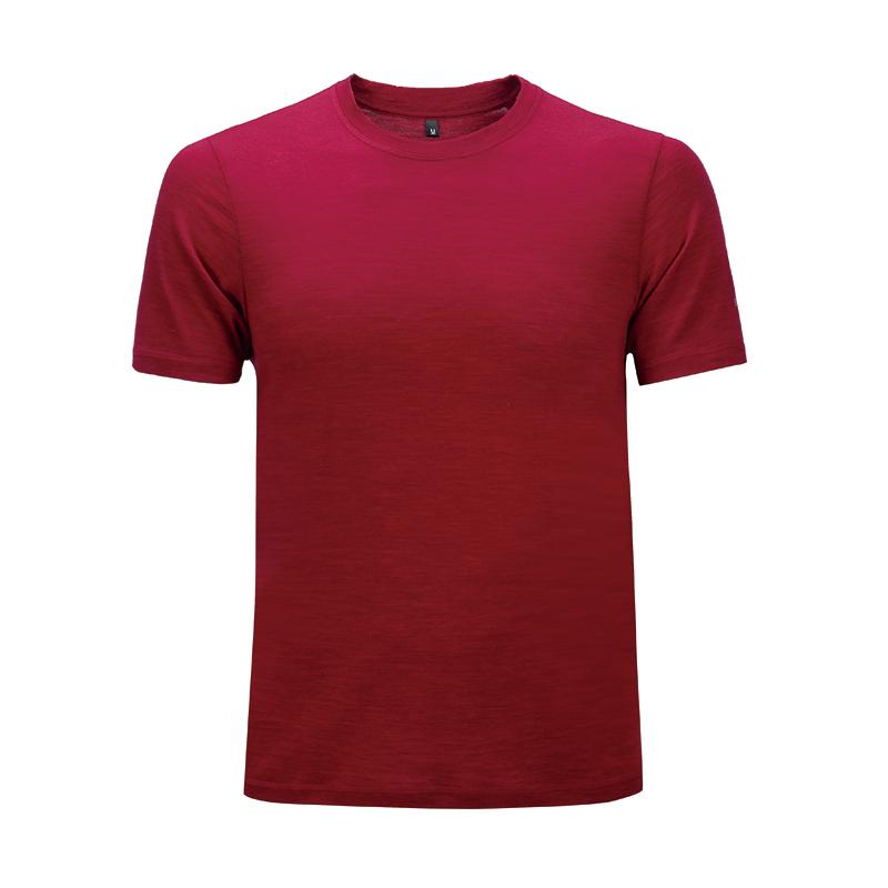 【优个精选】Naturally Inspired/天赋灵感 澳洲100%美丽诺羊毛户外跑步速干160gm 男款暗红色纯色T恤