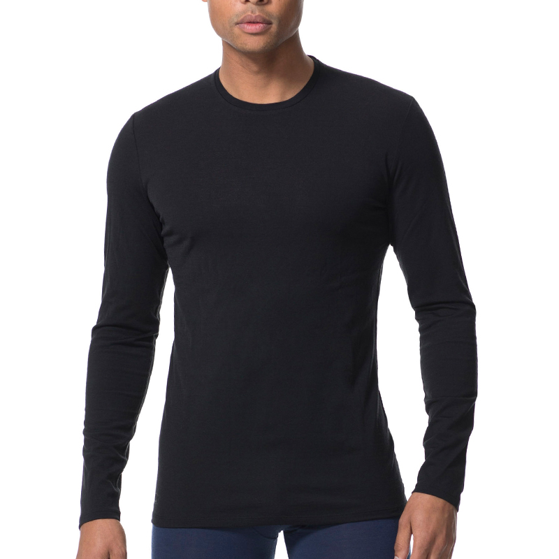 Naturally Inspired澳洲精细100%美丽诺羊毛长袖运动休闲男士200gm圆领长袖 黑色77378