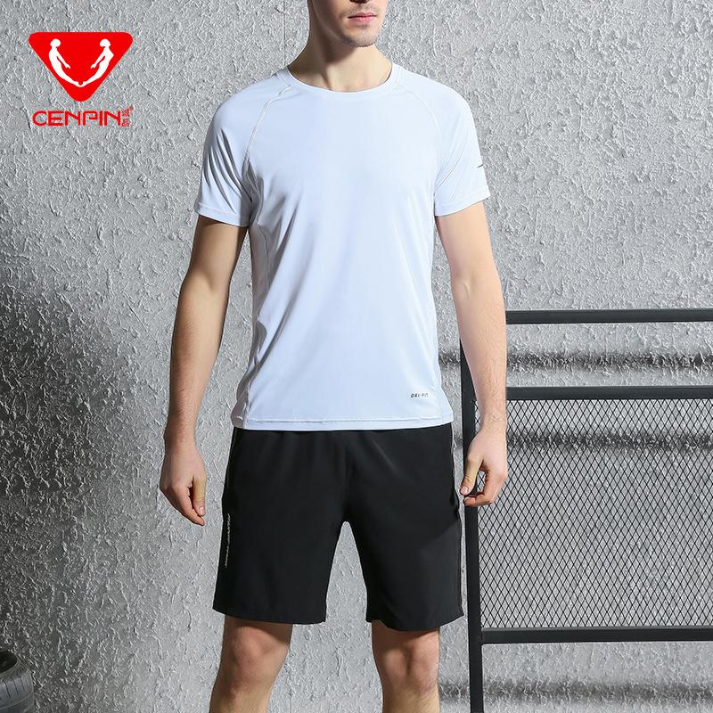 诚品吸湿排汗速干透气男款短袖短裤运动套装健身套装 87168+87151 白衣黑裤