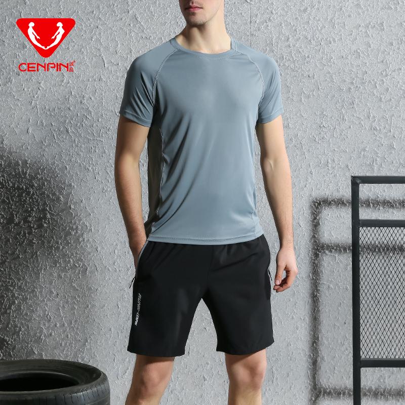 诚品吸湿排汗速干透气男款短袖短裤运动套装健身套装 87168+87151  中灰衣黑裤