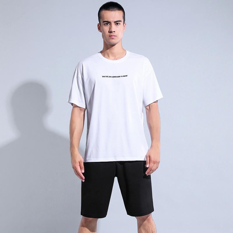 诚品 宽松大码透气舒适男款圆领短袖短裤短套装 白衣黑裤78191
