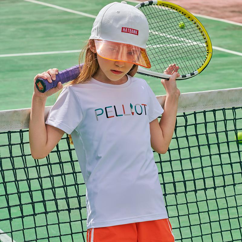 伯希和戶外兒童短袖T恤2020新款夏季薄男女童印花圓領彈力快干衣 13021537 極地白