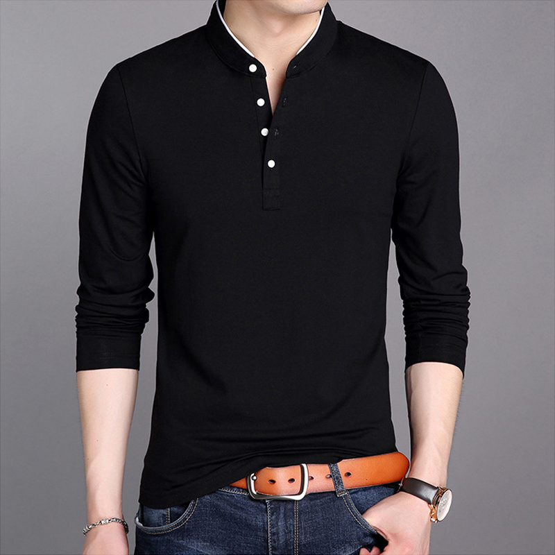 巴洛尼莫 2020年新款男士长袖T恤个性立领打底衫秋季纯色韩版修身T恤潮流男装100578950