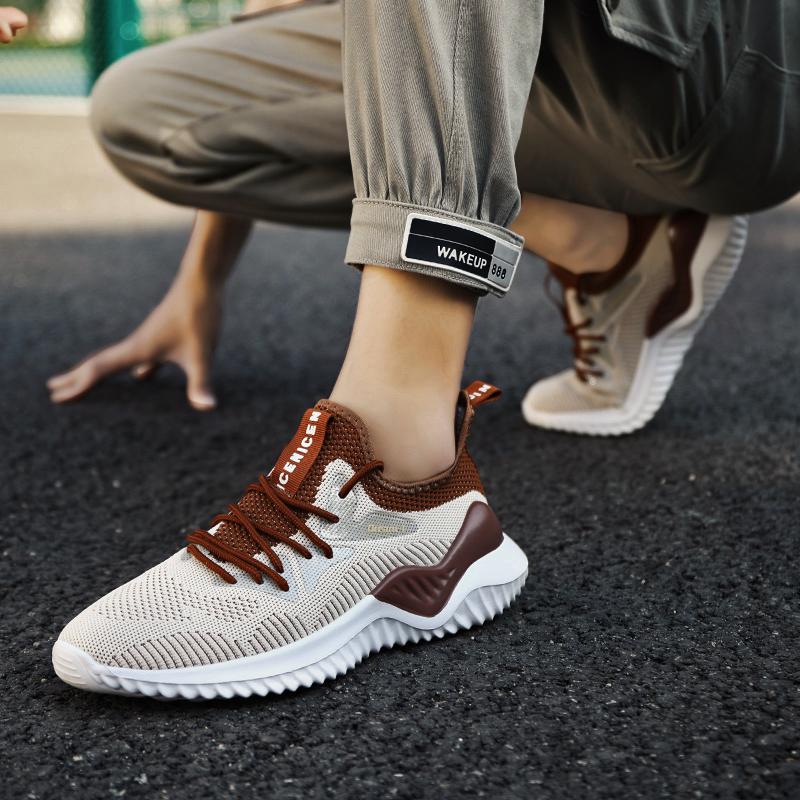 2021年新款夏季透气网面飞织运动男鞋休闲青少年跑步潮鞋百搭网鞋JB-1810 80185