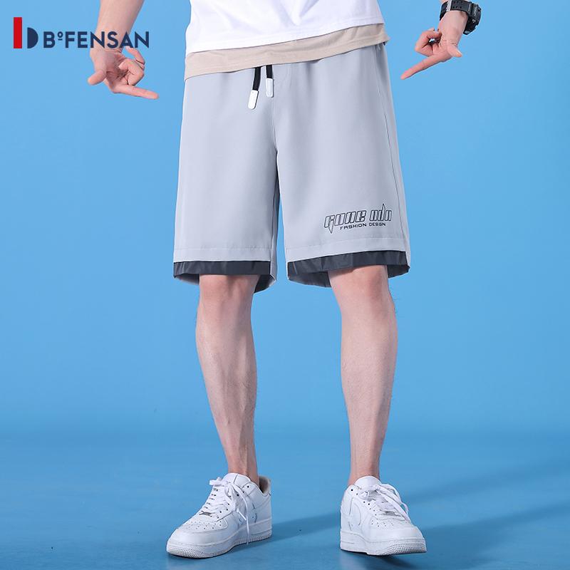 波梵森 男款休闲短裤,采用棉质面料,手感顺滑,轻柔透气,弹力舒适,休闲版型,运动无束缚!流宽松运动速干沙滩裤男士五分外穿 灰色 80350