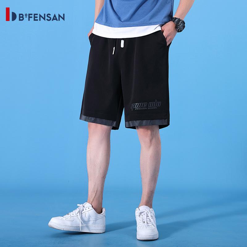 波梵森 男款休闲短裤,采用棉质面料,手感顺滑,轻柔透气,弹力舒适,休闲版型,运动无束缚!流宽松运动速干沙滩裤男士五分外穿 黑色 80350