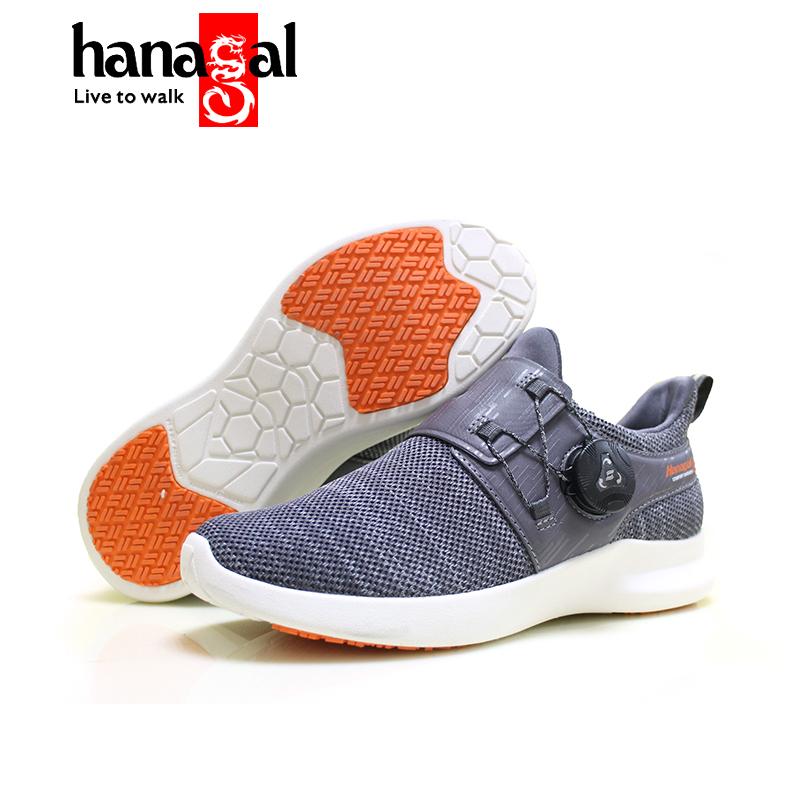 HANAGAL悍戈 新款戶外休閑鞋 徒步鞋 止滑耐磨運動鞋 快速扣穿脫 灰橘色