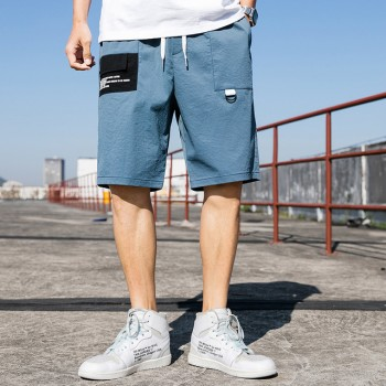 奔酷 夏季男款五分短裤透气速干裤 灰蓝款 户外徒步跑步休闲运动 灰蓝78483