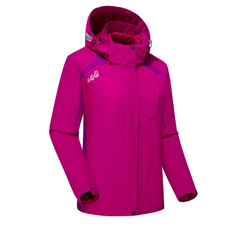 CINESSD冲锋衣 女款玫红色 三合一冬棉加厚保暖两件套户外装备79426
